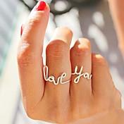 de la mujer 2 piezas de aleación de alambre que aman juego de anillos carta