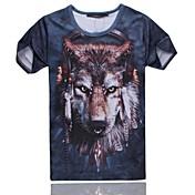 Camiseta De los hombres Estampado-Casual / Deporte-Poliéster / Mezcla de Algodón-Manga Corta-Multicolor