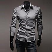 男性用 プレイン カジュアル シャツ,長袖 コットン ブラック / ホワイト / グレー