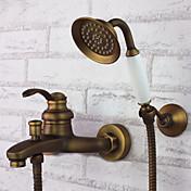アンティーク バスタブとシャワー ハンドシャワーは含まれている with  セラミックバルブ 三つ シングルハンドル三穴 for  アンティーク真鍮 , 浴槽用水栓