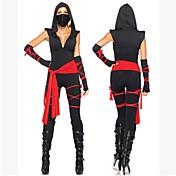 Ninja Disfraces Zentai Cosplay de películas  Negro Vendaje Top Pantalones Cinturón Máscara Halloween Año Nuevo Espándex Algodón