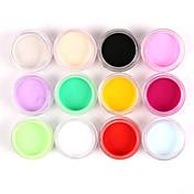 12pcs cores misturadas em pó nail art acrílico pintura de unhas esculpindo esculpindo poeira pintura uv para salão de decoração de unhas
