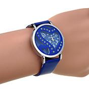 女性のラインストーンダブルハートはPUクォーツ時計(盛り合わせ色)をくりぬく