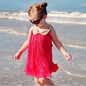 女の子の ソリッド コットン ドレス 夏 半袖 レッド ピンク ライトグリーン
