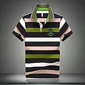 メンズカジュアル/仕事/フォーマル/プラスサイズの縞模様の半袖レギュラーポロシャツ(綿)