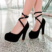 Mujer Zapatos Semicuero Primavera Verano Otoño Tacón Cuadrado Hebilla Para Vestido Negro Azul Beige Fucsia