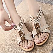 Women's Shoes Spring T-Strap Flat Heel Ri...