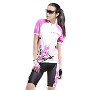 Forider ショーツ付きサイクリングジャージー 女性用 半袖 バイク 洋服セット サイクルウェア 速乾性 抗紫外線 高通気性 パッチワーク サイクリング / バイク