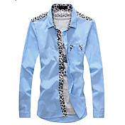 Camisas Casuales ( Algodón )- Casual Cuello de camisa Manga Larga para Hombre