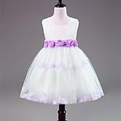 茶葉の長さの花嫁の女の子のドレス - 華やかなファッションの花とサテンのノースリーブの宝石の首
