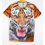 Camiseta De los hombres Estampado-Casual-Mezcla de Algodón-Manga Corta-Estampado Animal