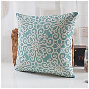 青い花のパターン綿/リネンの装飾枕カバーカントリースタイル