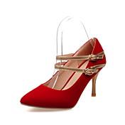 女性用 靴 フェイクスエード 春 夏 スティレットヒール ベックル のために カジュアル ブラック レッド ブルー