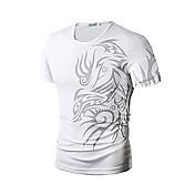 Camiseta De los hombres Estampado / Un Color-Casual / Trabajo / Deporte-Poliéster-Manga Corta-Negro / Azul / Rojo / Blanco / Gris