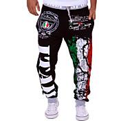 Hombre Casual Activo Tiro Medio Corte Ancho Activo Holgado Chinos Pantalones de Deporte Pantalones,Estampado Letra Mezcla de Algodón