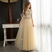 Corte en A Joya Hasta el Suelo Tul Evento Formal / Gala de Etiqueta Vestido con Apliques / Lazo(s) por LAN TING Express