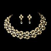 Mujer Perla artificial Cristal Boda Fiesta Ocasión especial Cumpleaños Pedida Oro Legierung Pendientes Collares