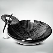 Contemporáneo T1.2×Φ42×H14.5cm(T0.47×Φ16.54×H5.71 inch) Redondo material del disipador es Vidrio TempladoLavabo de Baño / Grifería de