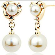 ドロップイヤリング ファッション 高級ジュエリー 真珠 模造ダイヤモンド 合金 スクリーンカラー ジュエリー のために 2 個