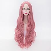 Pelo sintético pelucas Ondulado Amplio Raya en medio Sin Tapa Peluca de carnaval Peluca de Halloween Muy largo Rosa