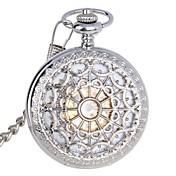 Hombre Reloj de Bolsillo El reloj mecánico Cuerda Automática Resistente al Agua Huecograbado Acero Inoxidable Banda De Lujo Plateado