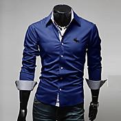 Camisa De los hombres Un Color Casual / Trabajo / Formal / Tallas Grandes-Algodón / Poliéster-Manga Larga-Negro / Azul / Rojo / Blanco