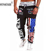 Hombre Corte Recto Pantalones de Deporte Pantalones, Estampado A Cuadros Mezcla de Algodón