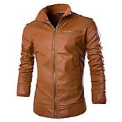 メンズストリートシックな秋のPUジャケット/コート、ソリッド長袖puスタンドカラー