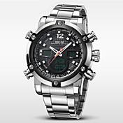WEIDE Hombre Reloj de Pulsera Cuarzo Cuarzo Japonés Despertador Calendario Cronógrafo Resistente al Agua Reloj Deportivo LCD Dos Husos