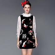 De las mujeres Tallas Grandes Vestido Tallas Grandes / Vintage / Fiesta / Para Trabajo / Casual Un Color Sobre la rodilla Escote Redondo
