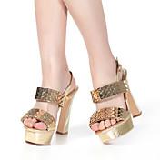 Mujer Zapatos Cuero Verano Tacón Cuadrado para Casual Dorado
