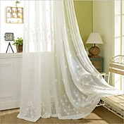 Corredizo Anillo Lazo de tela Doble plisado Solo plisado Dos Paneles Ventana Tratamiento Campestre , Bordado Dormitorio Poliéster Material