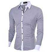 男性用 シャツ, ビジネス レギュラーカラー スリム ソリッド コットン