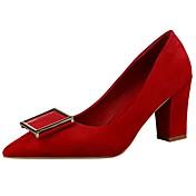 Mujer Zapatos Terciopelo Primavera / Verano Tacón Cuadrado Marrón / Rojo / Rosa / Vestido