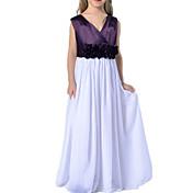 Vestido Chica de Un Color Poliéster Sin Mangas Verano Lazo Morado