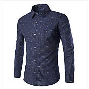 男性用 プレイン カジュアル シャツ,長袖 コットン ブルー