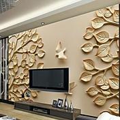 リーフ柄 アールデコ調 3D ホームのための壁紙 現代風 ウォールカバーリング , キャンバス 材料 接着剤必要 壁画 , ルームWallcovering