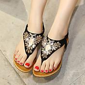 Mujer Zapatos Semicuero Verano Talón Descubierto Tacón Cuña Plataforma Para Vestido Negro Almendra