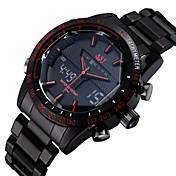 ASJ Hombre Reloj de Pulsera Reloj Deportivo Japonés Cuarzo Cuarzo Japonés Despertador Calendario Cronógrafo Resistente al Agua LED Acero