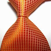 la corbata tejida jacquar a cuadros anaranjada del cuello de la noche de los hombres / de la tarde