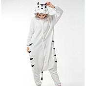Kigurumi Pyjamas Tiger Trikot/Heldragtskostumer Festival/Højtider Nattøj Med Dyr Halloween Hvid Patchwork Polarfleece Kigurumi Til Unisex
