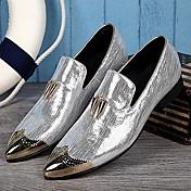 メンズ 靴 レザー 春 夏 秋 冬 アイデア オックスフォードシューズ メタルトゥ 用途 結婚式 パーティー シルバー ゴールデン