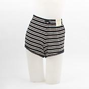 Mujer Tallas Grandes Tiro Medio Microelástico Vaqueros Pantalones, A Rayas Algodón Verano