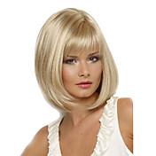 Mujer Pelucas sintéticas Corto Liso Rubia Parte lateral Corte Bob Con flequillo Las pelucas del traje
