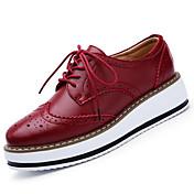 Mujer Zapatos Cuero Primavera Verano Otoño Invierno Confort Tacón Plano Con Cordón Para Casual Negro Rojo