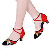 Mujer Latino Brillantina Lentejuelas Terciopelo Sintético Sandalia Tacones Alto Zapatilla Interior Aplique Lentejuelas Volantes Fruncido