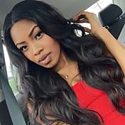 Mujer Pelucas de Cabello Natural Cabello humano Encaje Completo Encaje Frontal 130% Densidad Ondulado Grande Peluca Negro Color natural