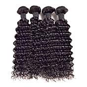 人毛 マレーシアンヘア 人間の髪編む カーリー カールつけ毛 ヘアエクステンション 4個 ブラック