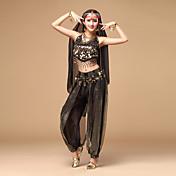ベリーダンス セット 女性用 演出 シフォン 3個 ノースリーブ 上着 パンツ ヘッドピース