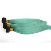 人毛 ブラジリアンヘア 人間の髪編む ストレート ヘアエクステンション 3個 1B / BLUE